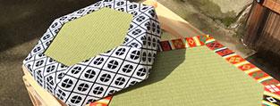 畳を製作する職人の手元
